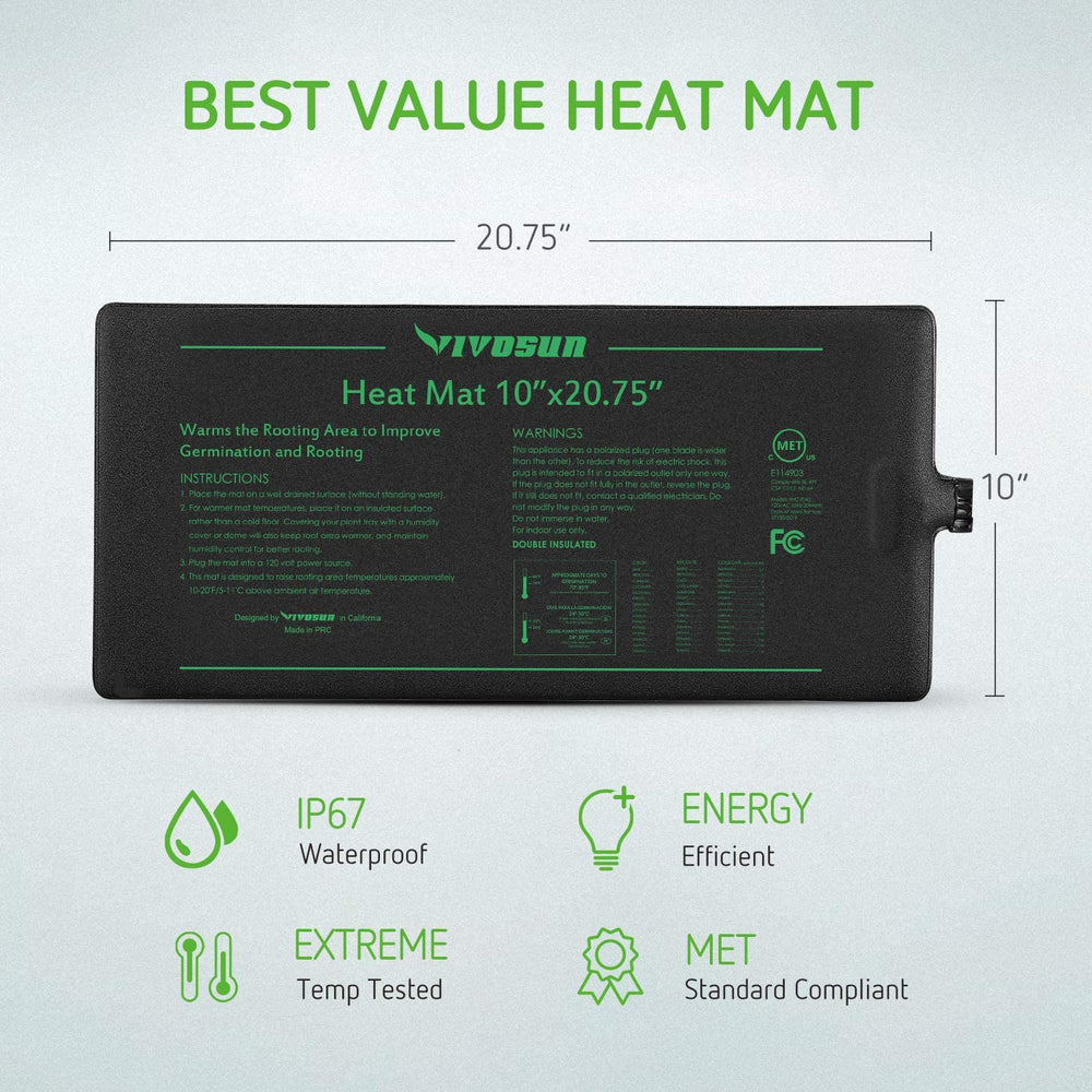 "VIVOSUN Seedling Heat Mat 10"" x 20.75"" 2-Pack"
