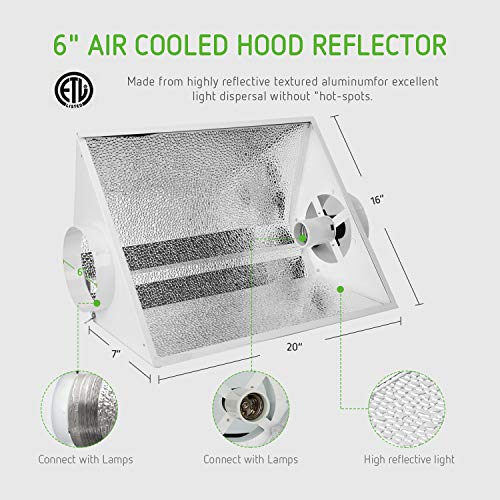 VIVOSUN Hydroponic 600 Watt HPS Grow Light Air Cooled Reflector Kit - VIVOSUN