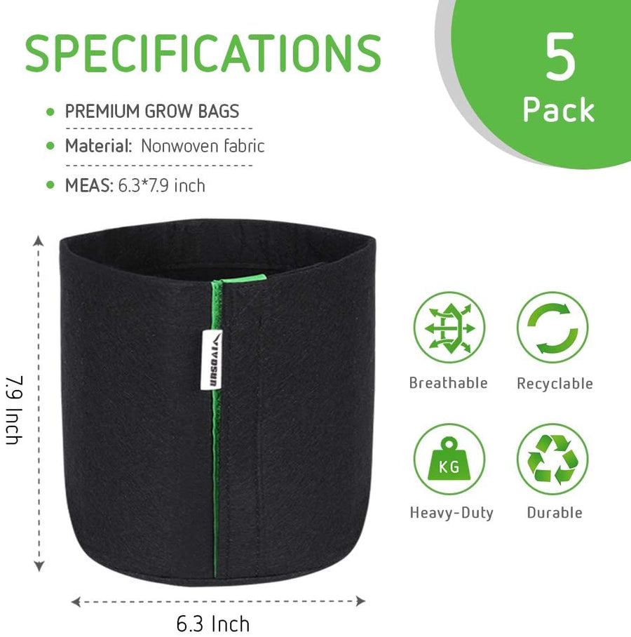 VIVOSUN 5-Pack 1 Gallon / 2 Gallon Grow Bags, Fabric Pots with Self-adhesion Sides for Transplanting