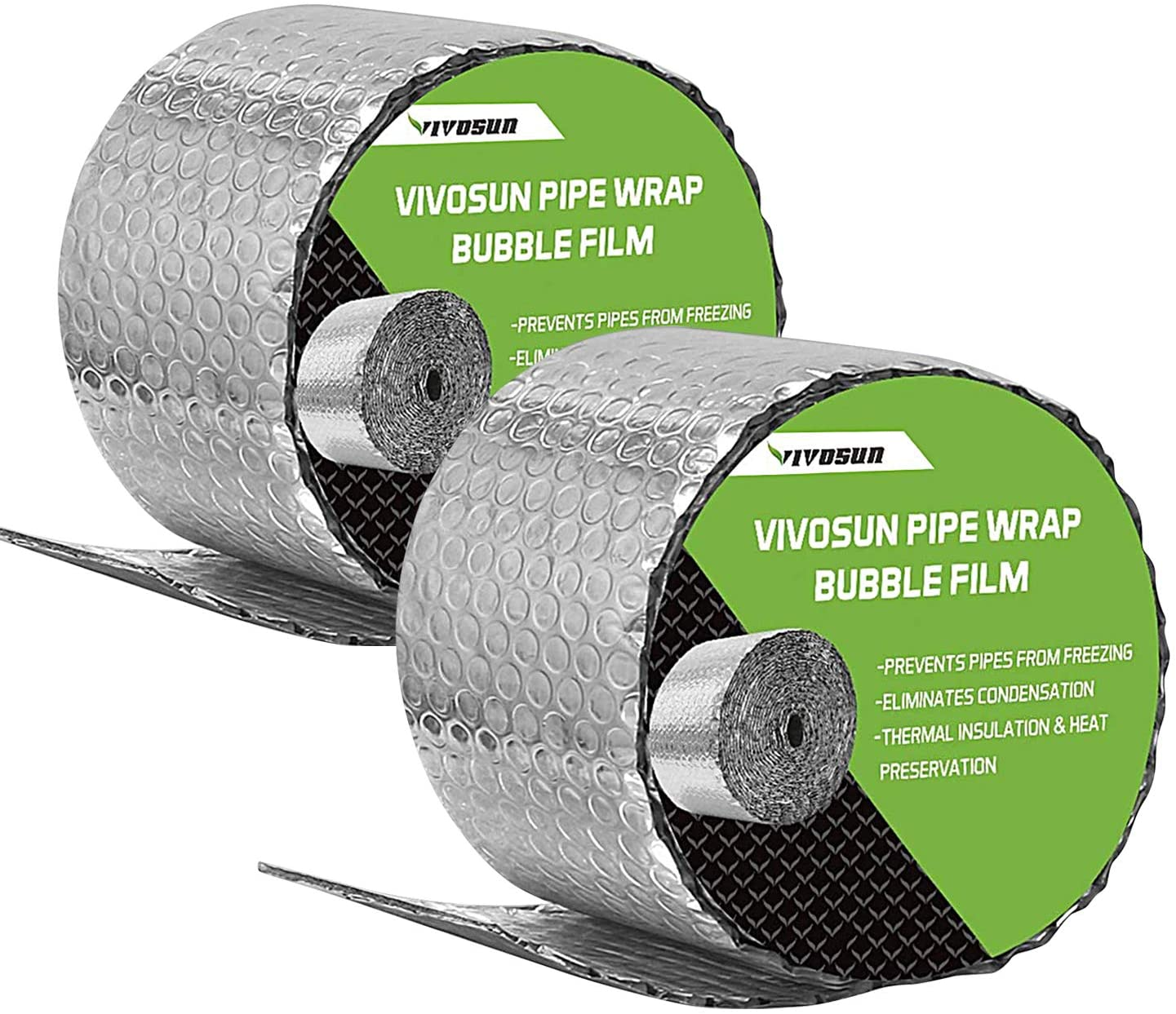 VIVOSUN Wrap Insulation Bubble Film 6-Inch by 25-Feet, 2 Pack - VIVOSUN