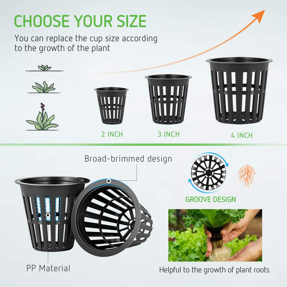 VIVOSUN 12 Pack 4 Inch Net Pots Heavy Duty Net Cups with 12 Pcs Plant Labels - VIVOSUN