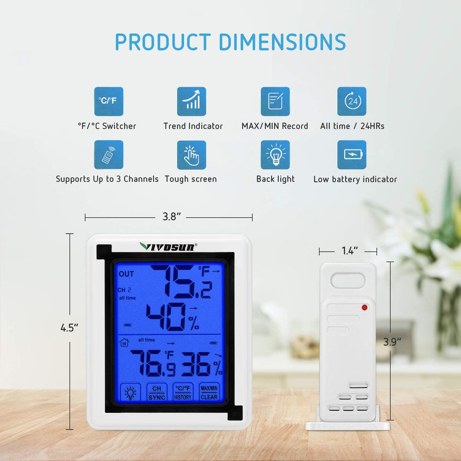 VIVOSUN Digital Hygrometer Indoor Outdoor Thermometer Humidity Monitor with Touchscreen LCD Backlight, Temperature Gauge Meter 200ft/60m Range Wireless Thermometer & Hygrometer (Battery Included)