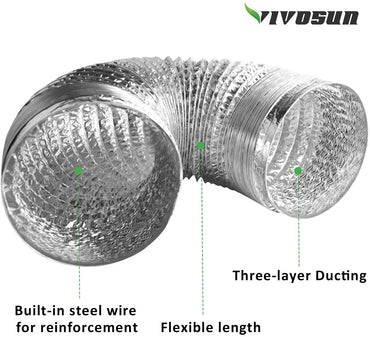 "VIVOSUN Air Aluminum Ducting 4""x 25ft - VIVOSUN"