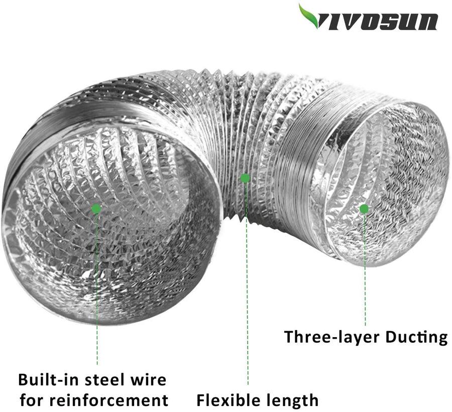 VIVOSUN 4 Inch 25 Feet Non-Insulated Flex Air Aluminum Ducting for HVAC Ventilation w/Two 4 Inch Stainless Steel Clamps