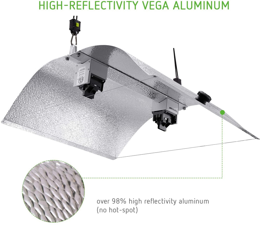 VIVOSUN Double Ended Adjustable Wing Reflector Fixture for DE HPS/MH Grow Light Bulb - VIVOSUN
