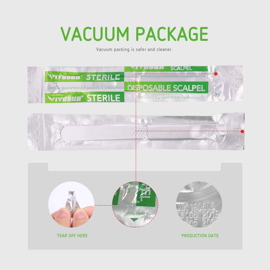 VIVOSUN Disposable Scalpels, Medical #10 High-Carbon Steel Blades, Plastic Handle Individually Foil Wrapped, Box of 10