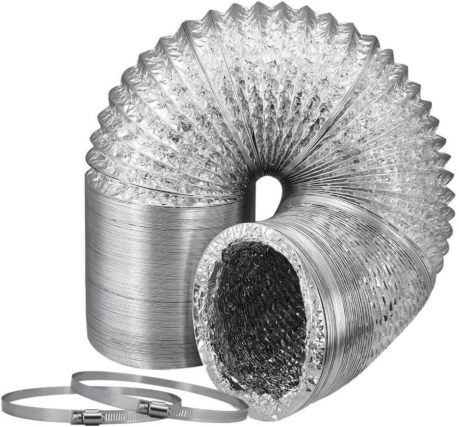 VIVOSUN 4 Inch 8 Feet Non-Insulated Flex Air Aluminum Ducting for HVAC Ventilation w/Two 4 Inch Stainless Steel Clamps