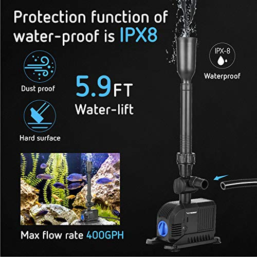 VIVOSUN 400GPH Submersible Pump, Ultra Quiet Water Pump with 5.9ft High Lift - VIVOSUN
