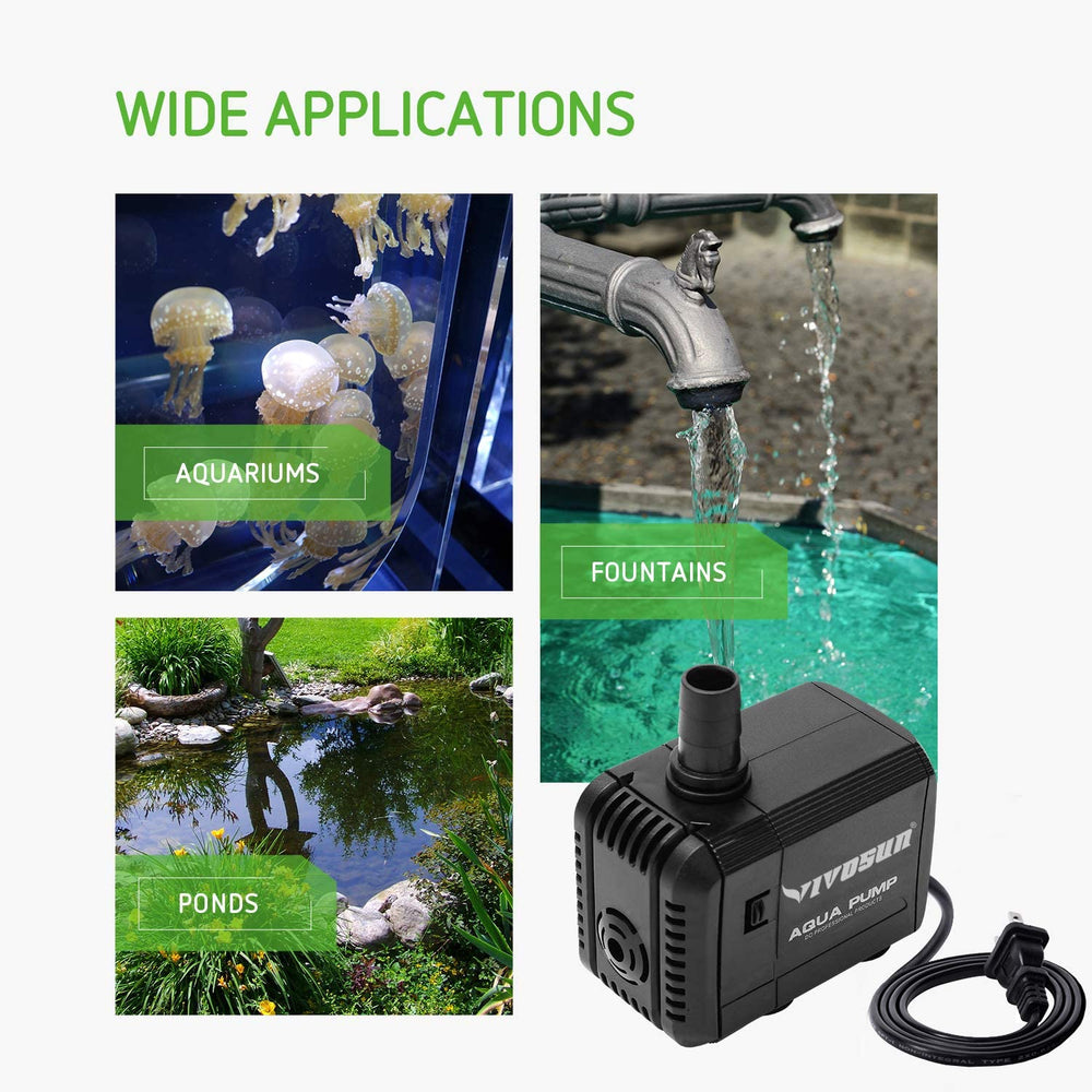 VIVOSUN 400GPH Submersible Pump for Fish Tank - VIVOSUN