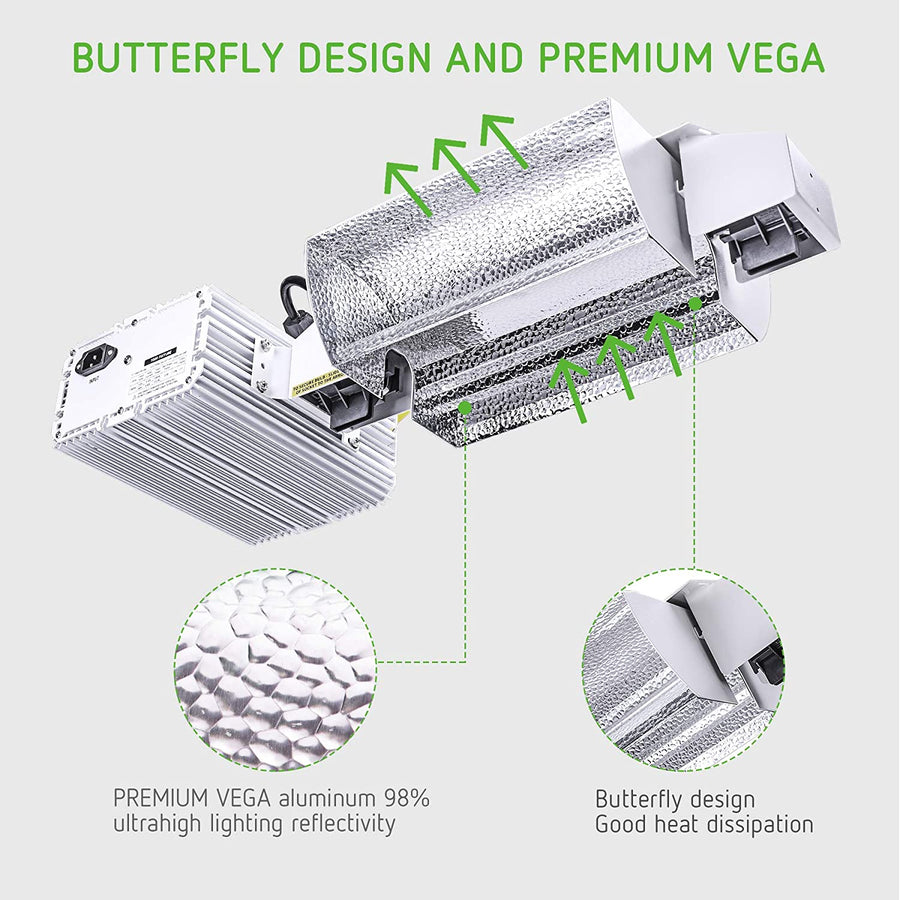 "VIVOSUN""Butterfly"" Double Ended Grow Light Fixture for DE HPS MH Bulb"