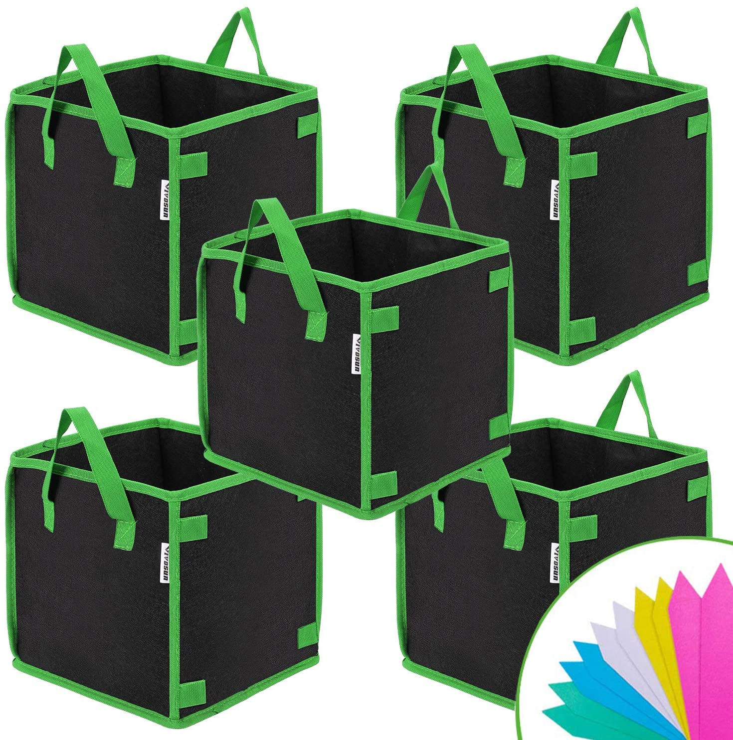 VIVOSUN Grow Bags Square with Pole Holder 5-pack - VIVOSUN