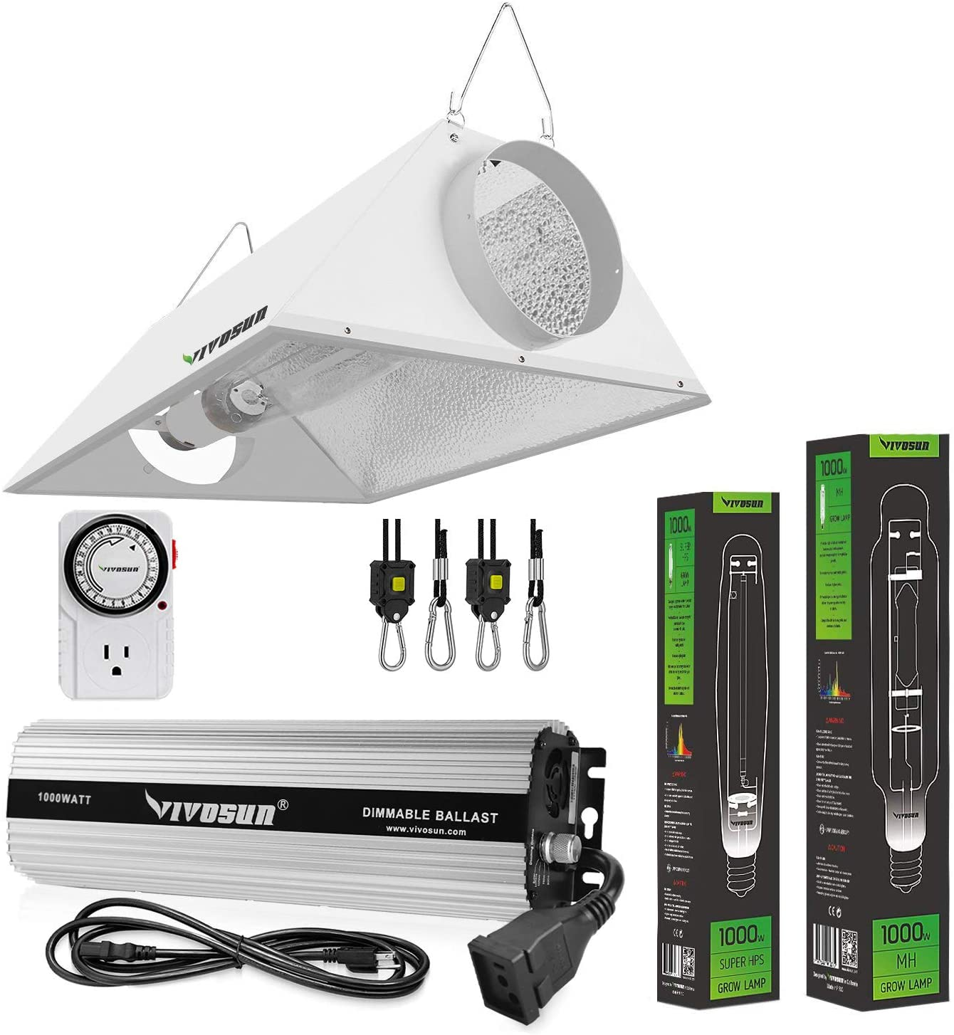 VIVOSUN Hydroponic 1000 Watt HPS MH Grow Light Air Cooled Reflector Kit - VIVOSUN