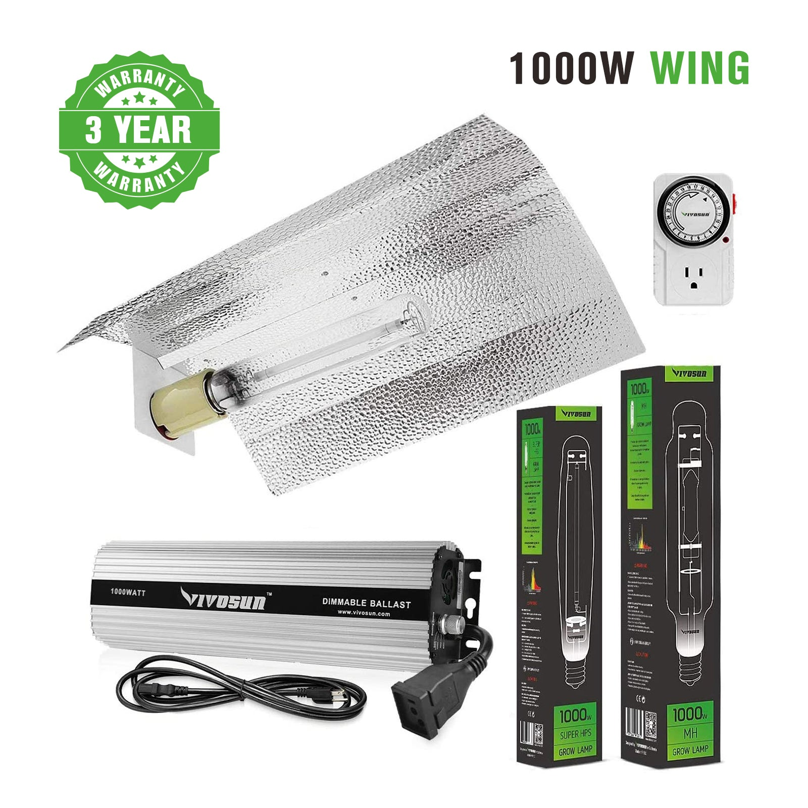 VIVOSUN Hydroponic 1000W HPS MH Grow Light Wing Reflector Kit