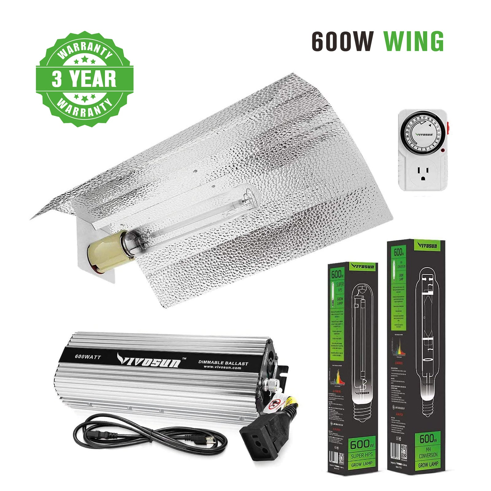 VIVOSUN 600W HPS MH Grow Light Wing Reflector Kit