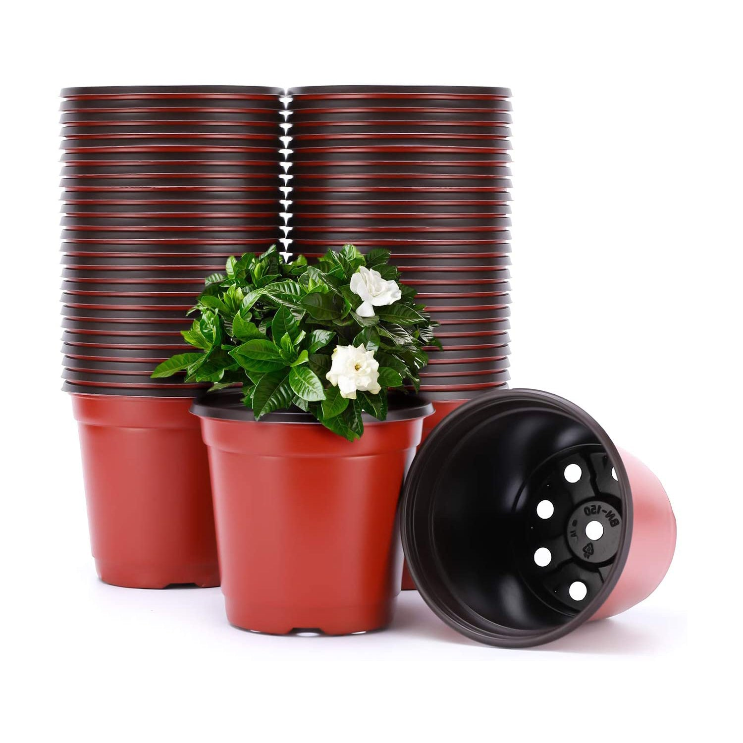 VIVOSUN 100pcs 4 Inch Planter Nursery Pots, Plastic Pots for Flower Seedling - VIVOSUN