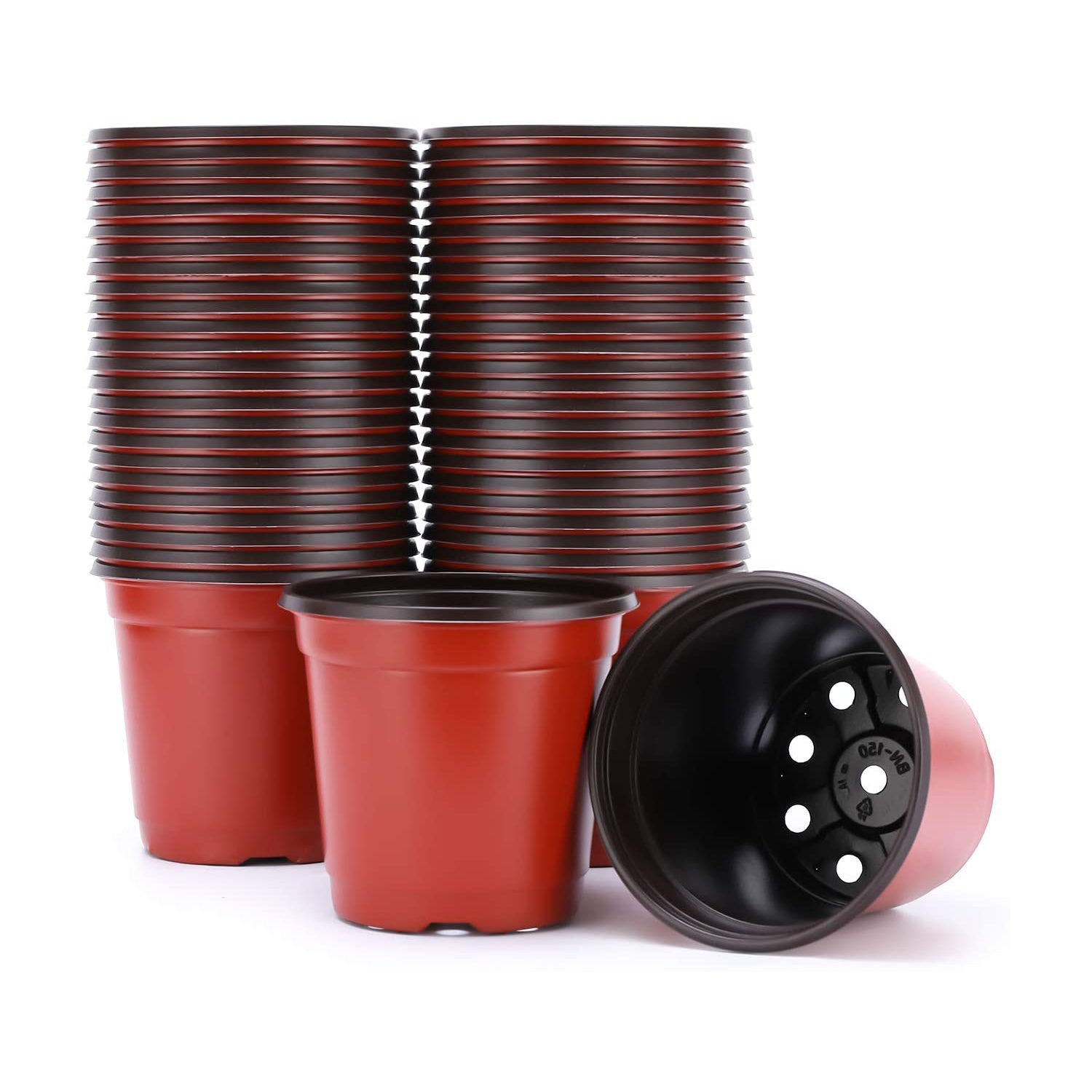 VIVOSUN 50pcs 6 Inch Planter Nursery Pots, Plastic Pots for Flower Seedling - VIVOSUN