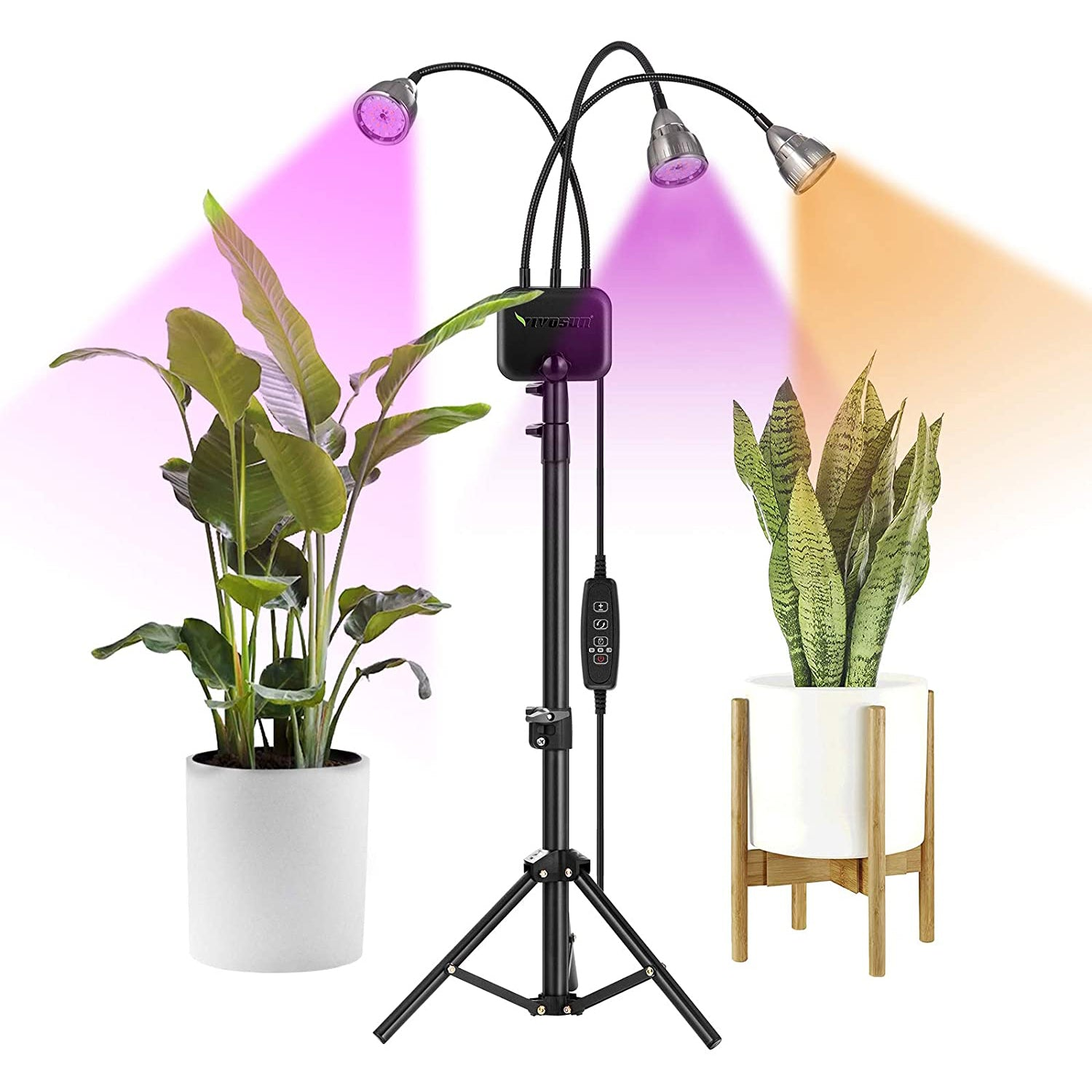 VIVOSUN Tri-Head 60W LED Grow Lights with Stand for Indoor Plants