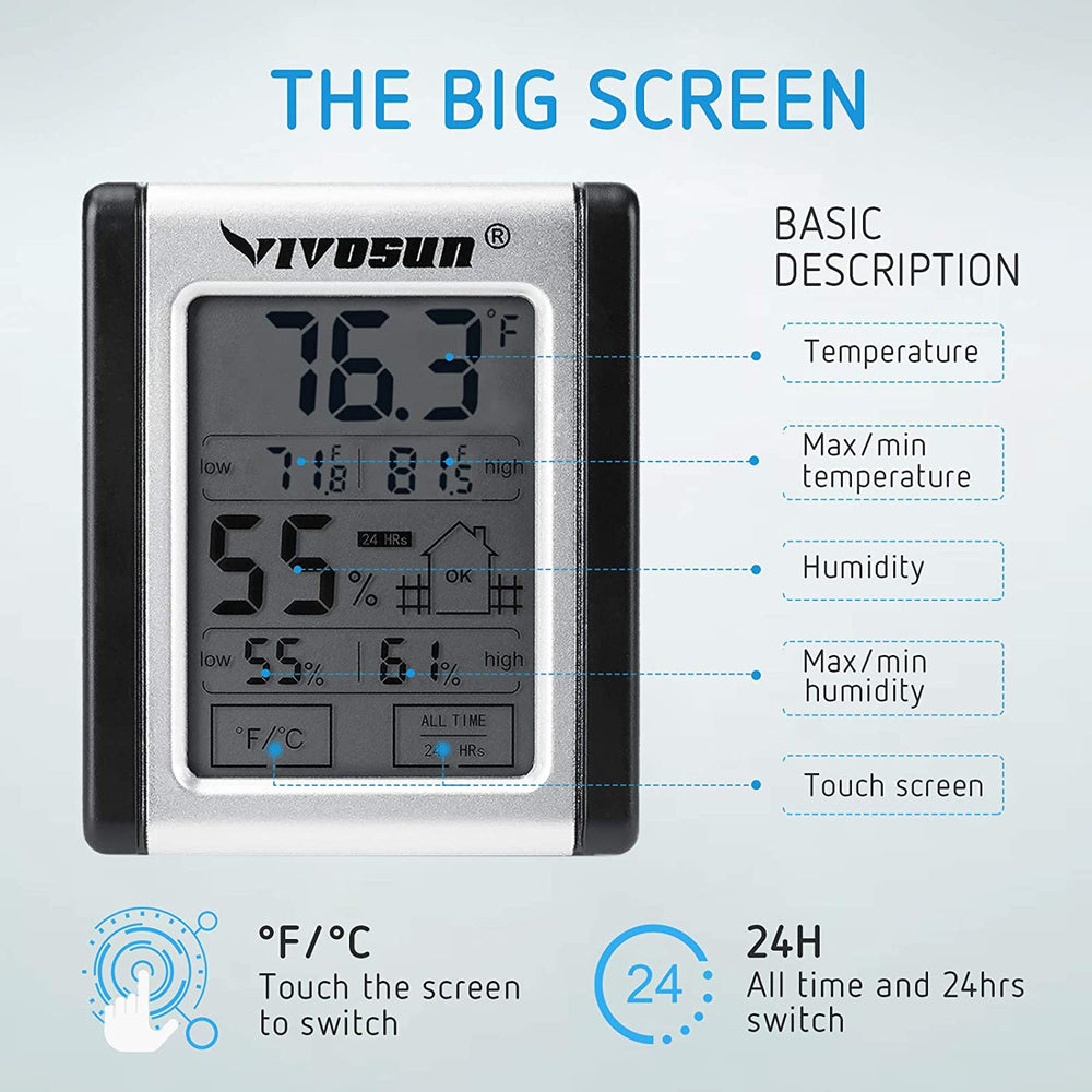 VIVOSUN Digital Indoor Thermometer & Hygrometer with Humidity Guage - VIVOSUN