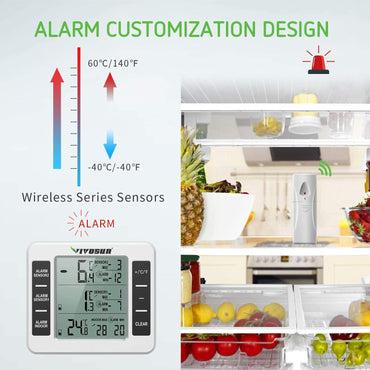 VIVOSUN Refrigerator Thermometer Wireless Digital Freezer - VIVOSUN