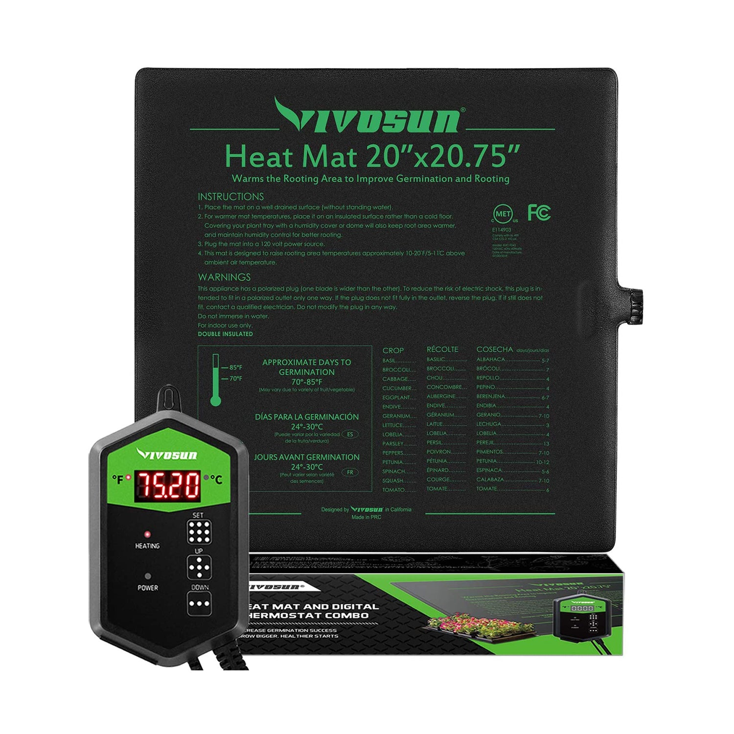 VIVOSUN Seedling Heat Mat Digital Thermostat Combo