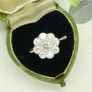 Vintage diamond daisy cluster ring