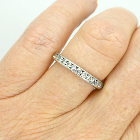 Contemporary Platinum Diamond wedding Band 1ct