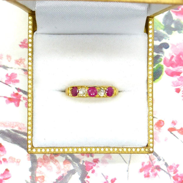 Antique Ruby Diamond five stone ring dated 1873
