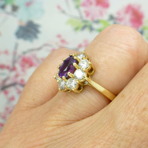 Vintage 18ct Amethyst diamond cluster ring 0.80ct