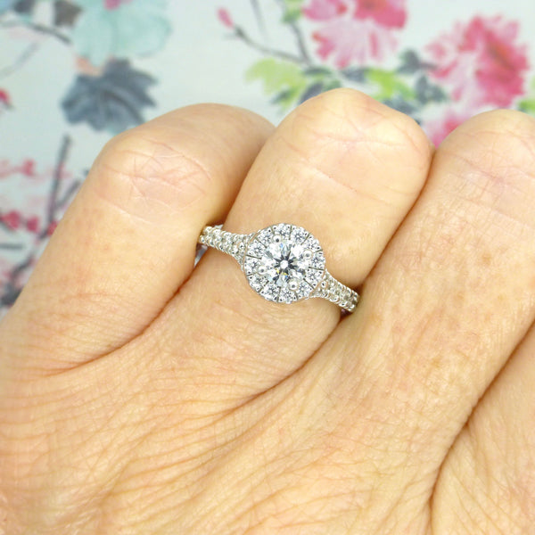 Platinum Diamond halo cluster engagement ring 1.10 carat