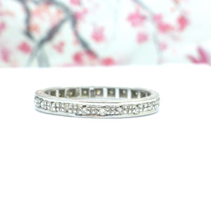 Vintage 18ct white gold full Diamond wedding band