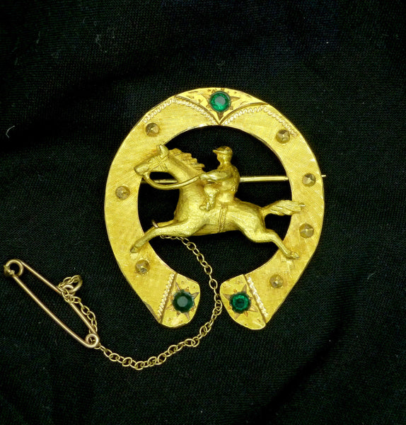 Vintage 18ct gold lucky horseshoe brooch