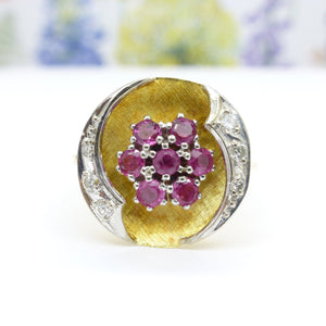 Vintage 18ct gold ruby diamond cluster ring