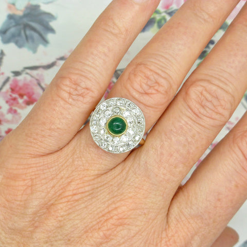 Art Deco Emerald Diamond Target cluster engagement ring 1920s