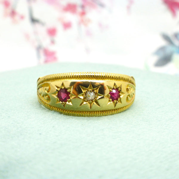 English Antique Ruby & Diamond gold band ring dated Chester 1907