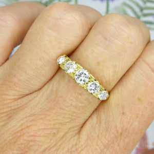 Vintage Victorian style diamond five stone engagement ring