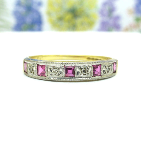 Vintage Art Deco style 18ct ruby & diamond wedding band
