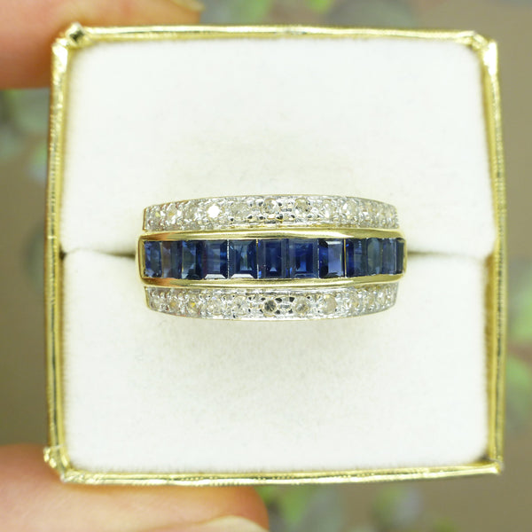 Vintage 14KT Sapphire & diamond three row band ring ~ Wedding Anniversary