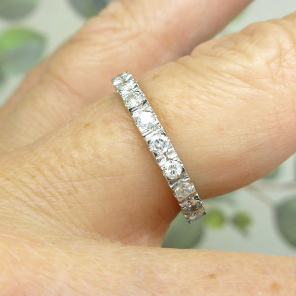 Vintage Platinum full hoop diamond wedding band 1.10 carat ~ UK 0 / US 7