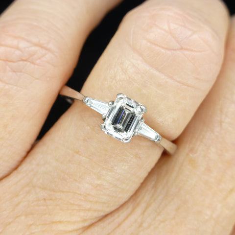 Stunning GIA emerald cut diamond solitaire engagement ring 0.74ct ~ With Valuation Certifcate.