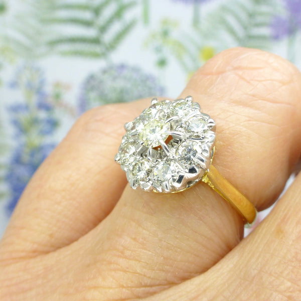 Vintage mid century 18ct gold diamond cluster engagement ring 1.10 carats