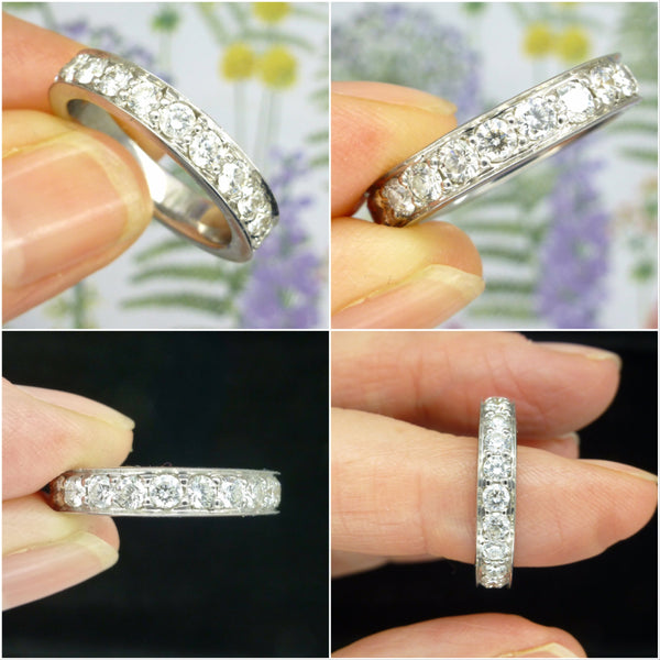 Vintage full hoop diamond wedding band 1.84 carat ~ Art Deco style Eternity ring ~ M 1/2 ~ 6.25