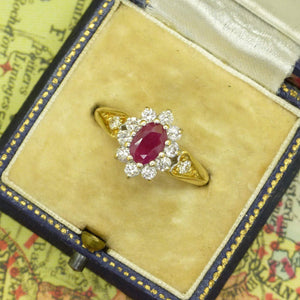 Vintage 18ct gold oval ruby & diamond cluster ring ~ Valentine proposal