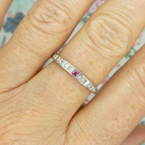 Vintage 18ct white gold Ruby & Square cut Diamond eternity wedding ring