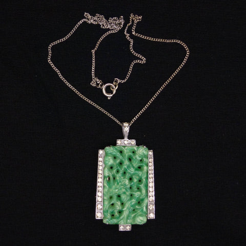 Art Deco faux jade paste rhinestone pendant/brooch necklace c1920's