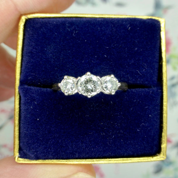 Vintage 18ct platinum diamond trilogy ring 0.65ct ~ c1950's