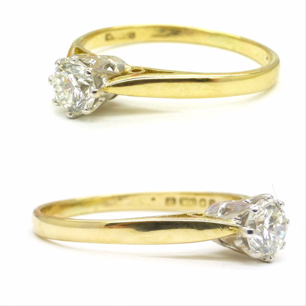 Vintage 18ct  gold Diamond solitaire engagement ring VS 0.35ct ~