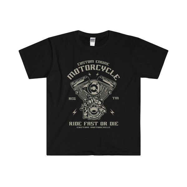 Custom Engine Motorcycle Biker Men's Fitted Short Sleeve Tee - DaVatka Fashion