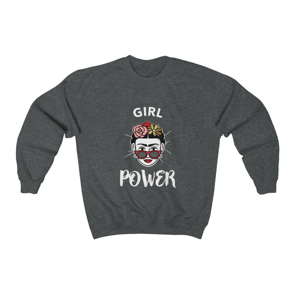 Girl Power Frida Kahlo Unisex Heavy Blend™ Crewneck Sweatshirt ML - DaVatka Fashion