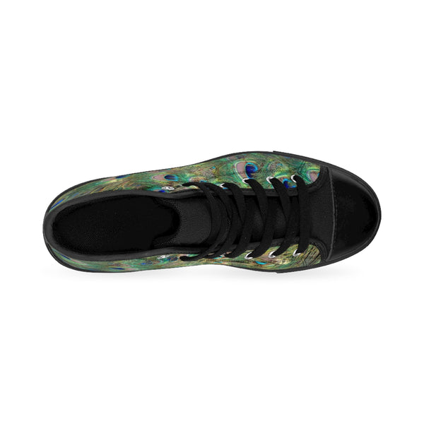 Peacock Feather Men's High-top Sneakers - DaVatka Fashion