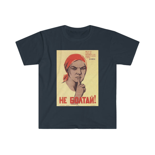 No Gossip! Soviet Propaganda Poster Men's Fitted Short Sleeve Tee - DaVatka Fashion